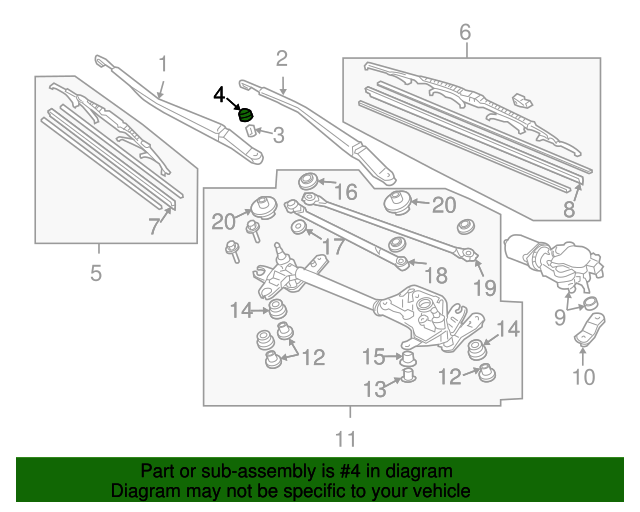 Cap, Front Wiper Arm (12MM)