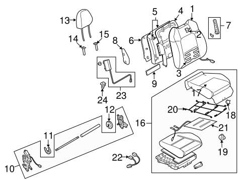 Front Seat Components For 2009 Subaru Legacy