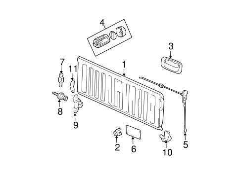 oem 2005 chevrolet colorado tail gate parts. Black Bedroom Furniture Sets. Home Design Ideas