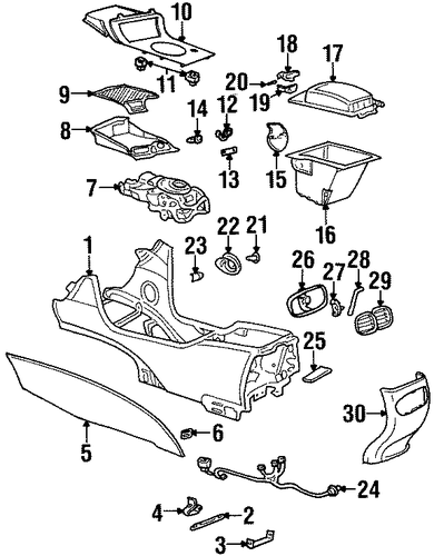 oem 2003 oldsmobile aurora front console parts. Black Bedroom Furniture Sets. Home Design Ideas