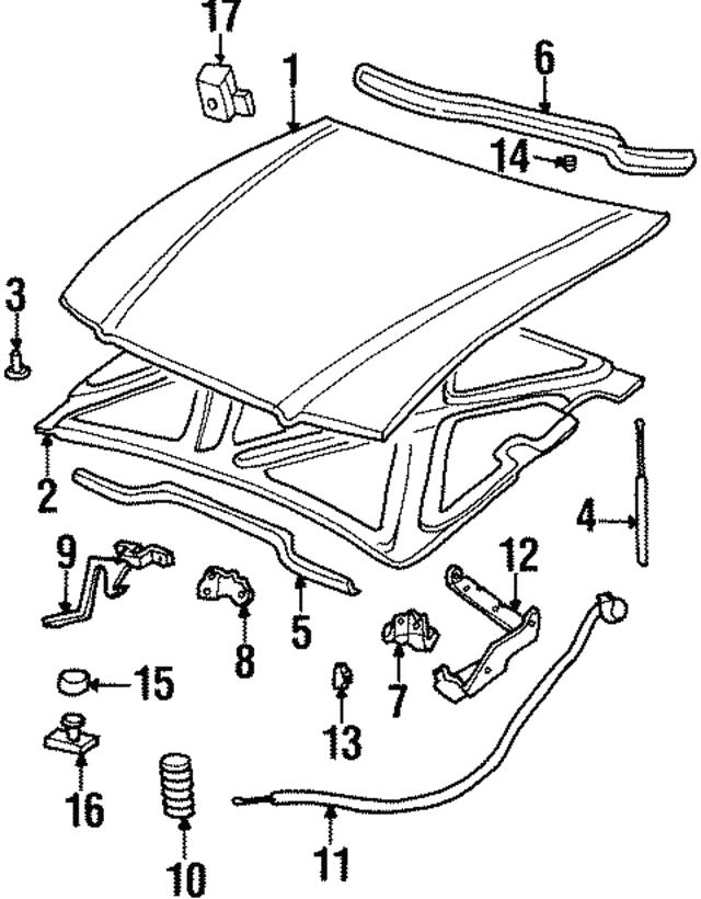 1984 2005 Gm Trunk Lid Bumper 12337963