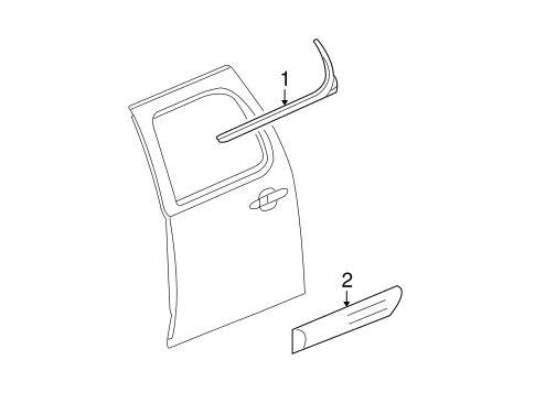 GM OEM REAR DOOR-Body Side Molding Left 22760308