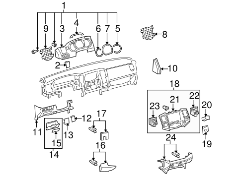 Instrument Panel Components For 2006 Toyota Tacoma