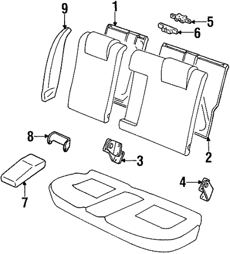 Body/Rear Seat Components for 1997 Ford Contour #1