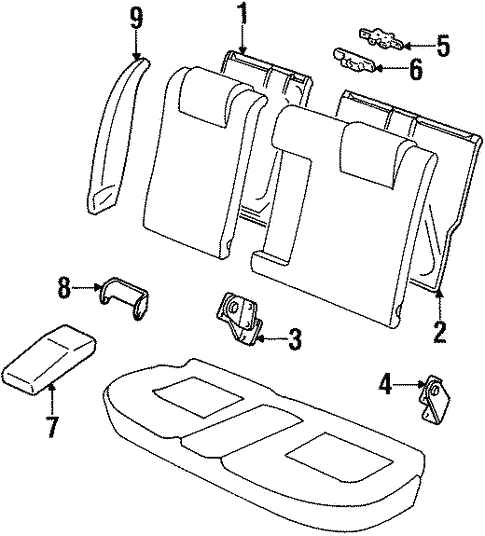 Rear Seat Components for 1996 Ford Contour #0