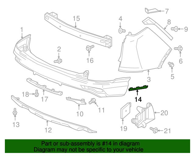 Genuine Honda Molding R Rear Bumper Side 71514-TLA-A11