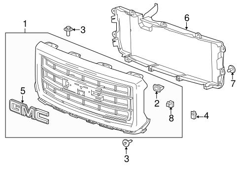 oem 2014 gmc sierra 1500 grille components parts. Black Bedroom Furniture Sets. Home Design Ideas