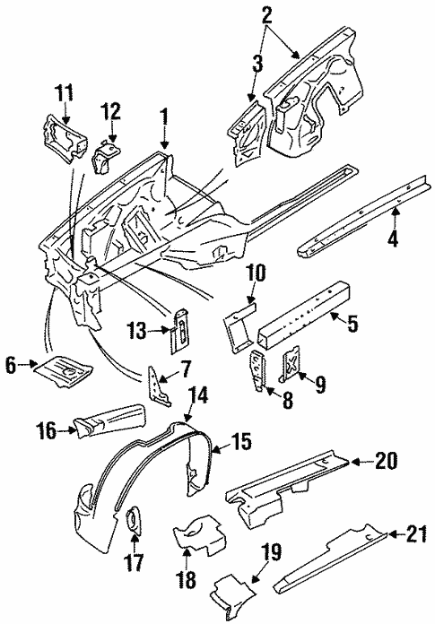 Structural Components Rails For 1997 Jaguar Xj6