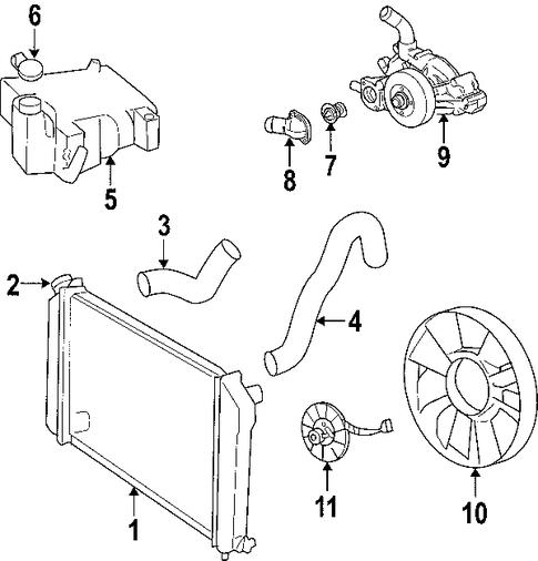 oem 2006 chevrolet trailblazer cooling system parts ... trailblazer thermostat diagram