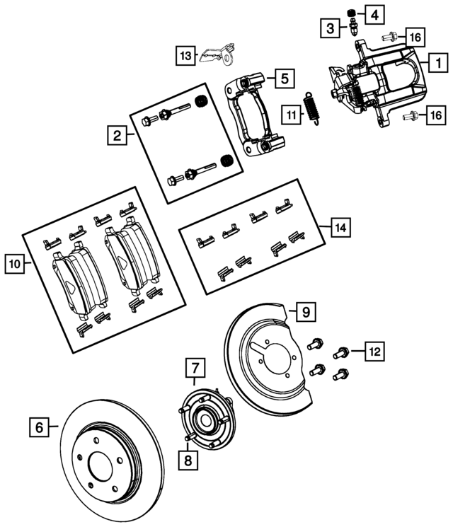 Dodge Grand Caravan Disc Brake Caliper Assembly Left 68144207ac