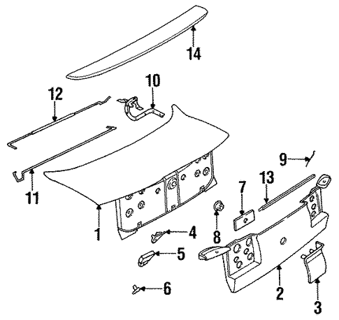 Exterior Trim - Trunk for 1992 Saturn SC #0