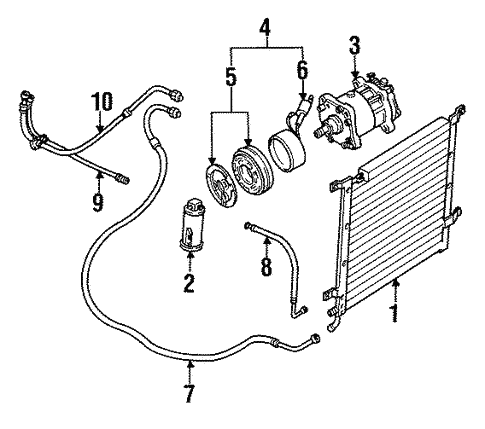Condenser Compressor Lines For 1991 Jeep Wrangler