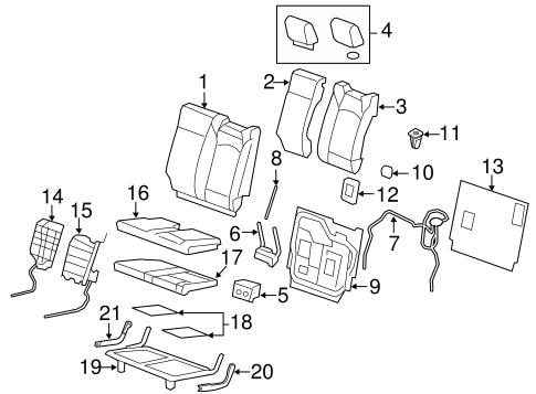 OEM 2011 GMC Acadia Third Row Seats Parts | GMPartsOnline.net  Sierra Seating Wiring Diagram on