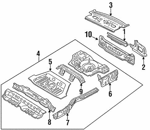 Rear Floor Rails For 1996 Mercury Tracer