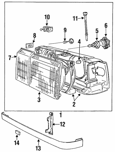 Headlamp Components For 1993 Volvo 940