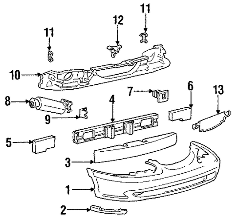 Body/Bumper & Components - Front for 1996 Ford Mustang #1
