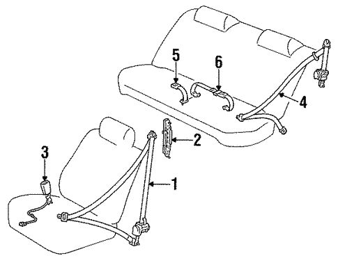 Genuine Oem Rear Seat Belts Parts For 1994 Toyota Camry Le