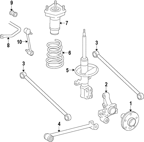genuine oem rear suspension parts for 2002 toyota camry xle olathe  2001 toyota corolla rear suspension diagram #9