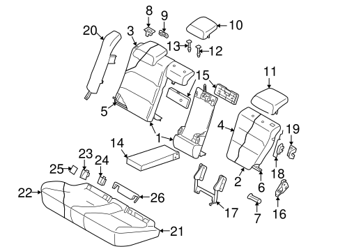Rear Seat Components For 2007 Subaru Legacy