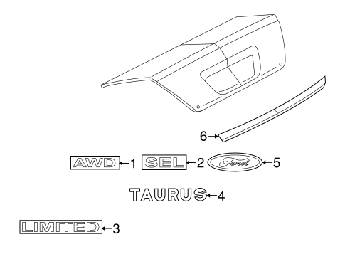 Body/Exterior Trim - Trunk for 2009 Ford Taurus #1