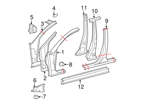 BODY/HINGE PILLAR for 2010 Toyota Avalon #1