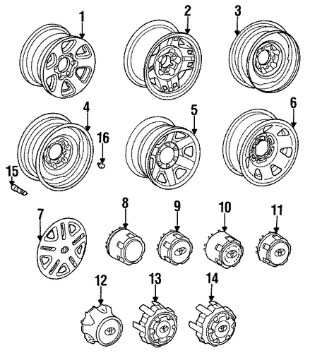 FRONT SUSPENSION/WHEELS for 1996 Toyota T100 #1