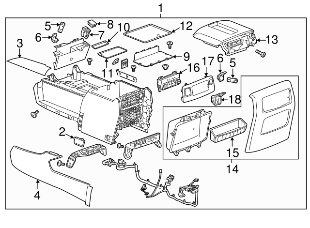 2017 2019 Chevrolet Suburban Console Assembly 84126880