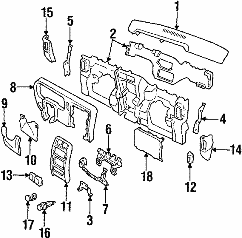 2001 Jeep Cherokee Overhead Console Parts Assembly Components