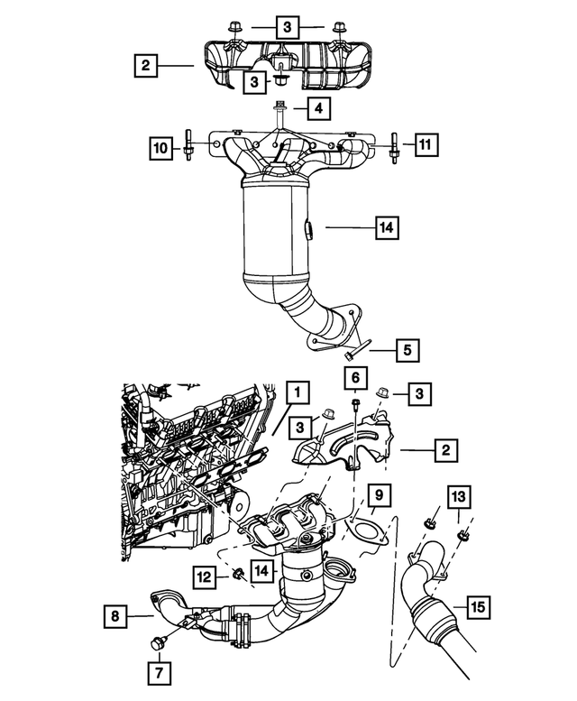 Exhaust And Catalytic Converter Manifold, Left Front - Mopar (68042141AB)