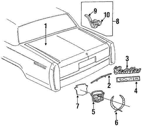Oem 1991 Cadillac Brougham Lid Components Parts