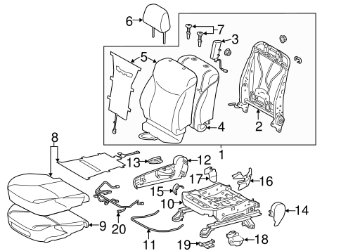 BODY/PASSENGER SEAT COMPONENTS for 2014 Toyota Prius #1
