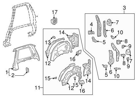 BODY/INNER STRUCTURE for 1996 Toyota RAV4 #2