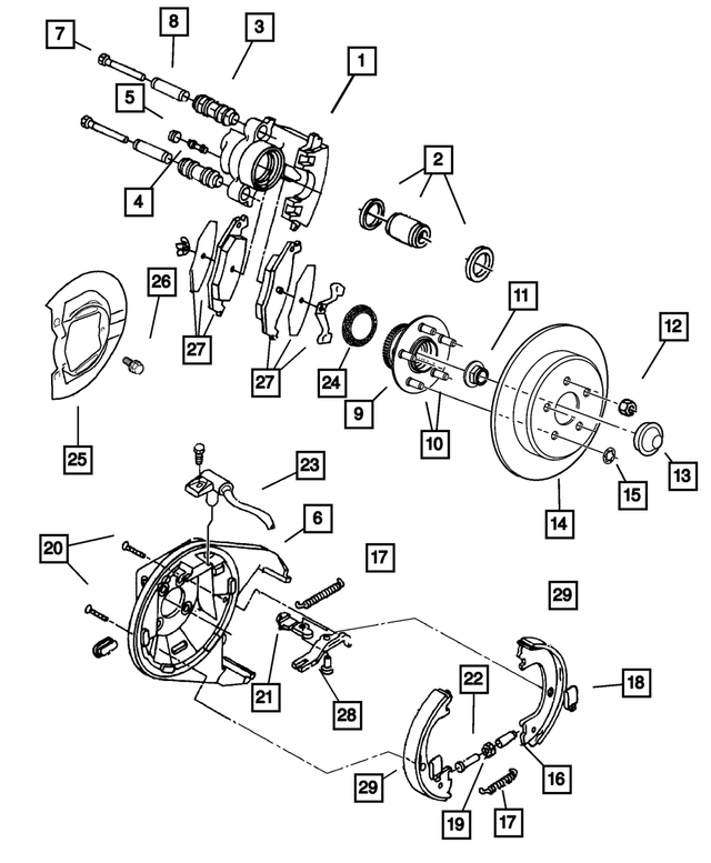 Disc Brake Caliper, Left - Mopar (5018-207AA)