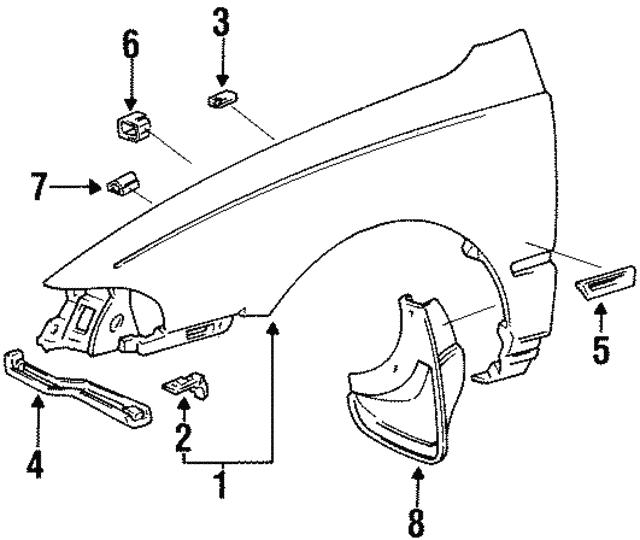 1991 2004 Toyota Hood Bumper Bracket 53385 20020