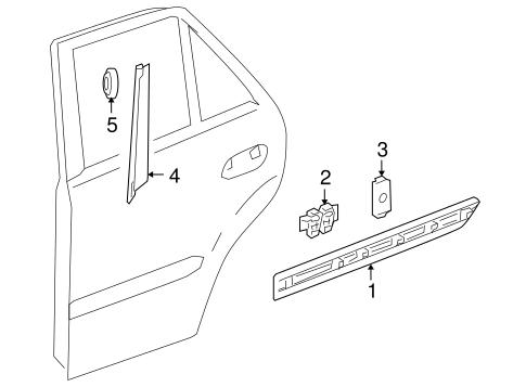 Exterior trim rear door for 2009 mercedes benz ml 320 for Mercedes benz exterior parts
