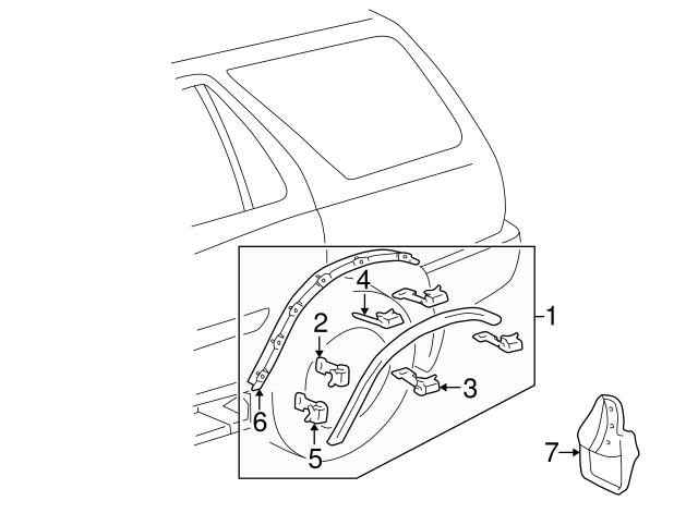 1996 2002 Toyota 4runner Wheel Opening Molding Clip 75049 35060