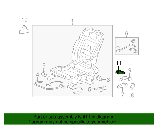 Honda Genuine 82531-SJC-A22ZA Seat Cushion Trim Cover Left Rear