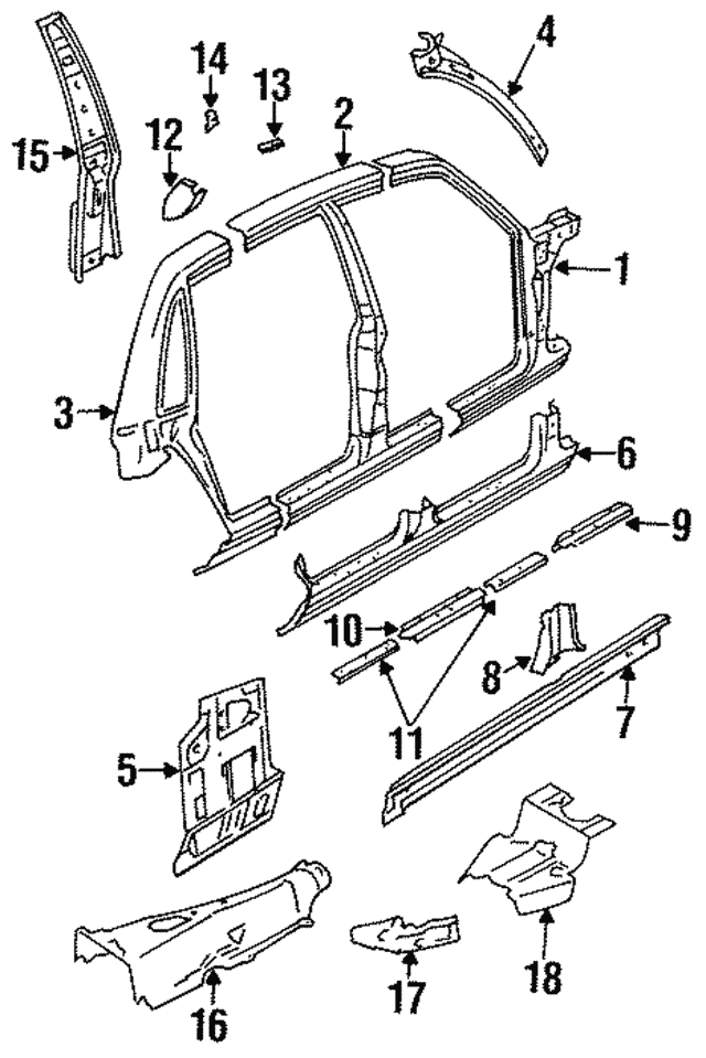 1995 2003 Jaguar Hinge Pillar Reinforcement Fna1348ab