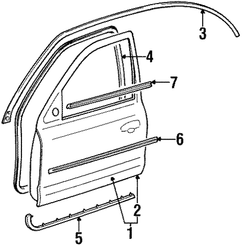 Exterior Trim - Front Door for 1996 Ford Contour #0
