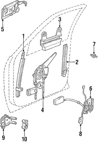 Hardware for 1992 chrysler lebaron factory mopar parts for 1992 chrysler lebaron convertible rear window regulator