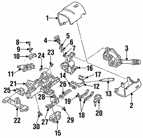 Steering/Shroud, Switches & Levers for 1996 Ford Mustang #1