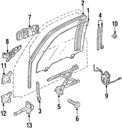 Sash Assembly, R Door Center (Lower)