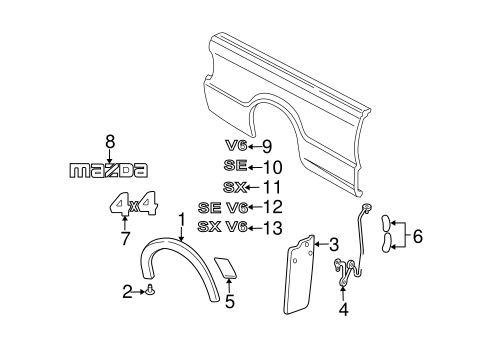 2002 mazda b3000 dual sport parts