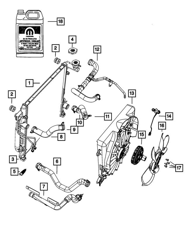 Genuine Chrysler 55037884AD Radiator Cooling Inlet Hose