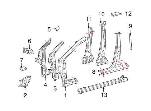 BODY/HINGE PILLAR for 2013 Toyota Matrix #1