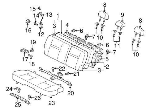 Rear Seat Components For 2005 Scion Xa