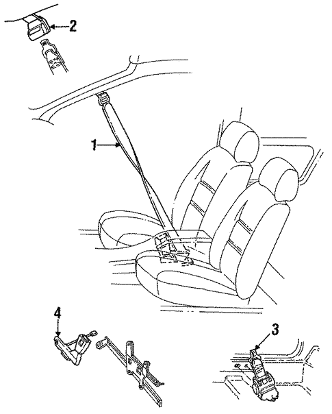 Front Seat Belts For 1993 Ford Thunderbird