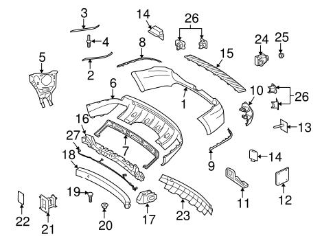 Bumper components rear for 2012 mercedes benz gl 450 for Mercedes benz gl450 parts catalog