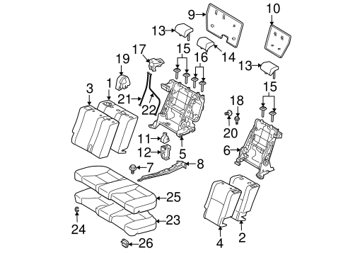 Rear Seat Components For 2005 Scion Tc