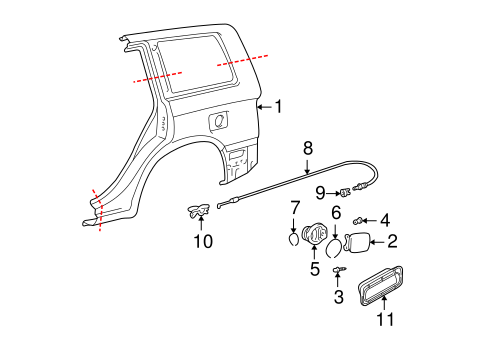 Quarter Panel & Components for 2005 Toyota Highlander #0